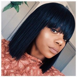 Straight bob with front bang hairstyle